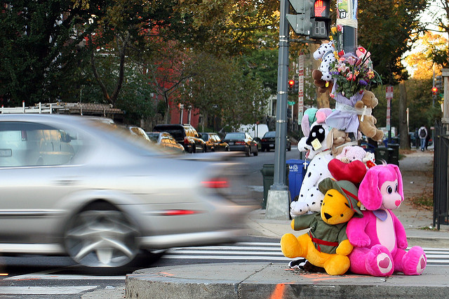 A memorial for a victim of reckless driving in Washington, D.C.