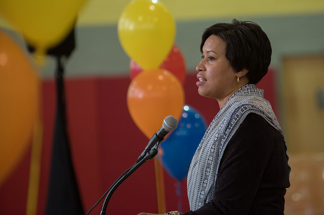 "Mayor Muriel Bowser attends a ""Making Every Day Count"" celebration at Sousa Middle School."