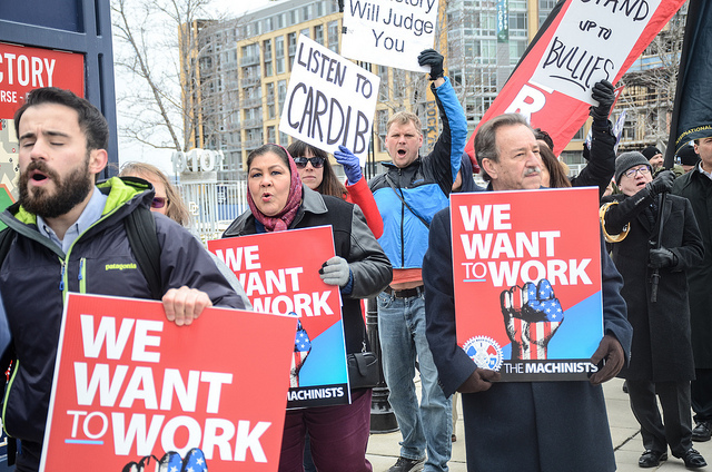 Federal and D.C. workers protest the government shutdown at the Take Me Back To Work rally at Nationals Park on January 17, 2019.