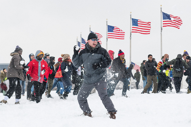 2019's first snowball fight by the Washington Monument.