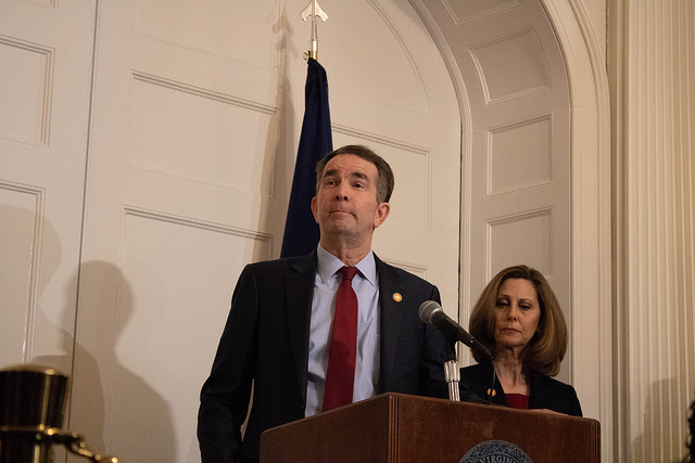 Virginia Gov. Ralph Northam speaks at a Feb. 2 press conference in response to the discovery of a racist photo in his medical school yearbook, alongside Virginia First Lady Pamela Northam.