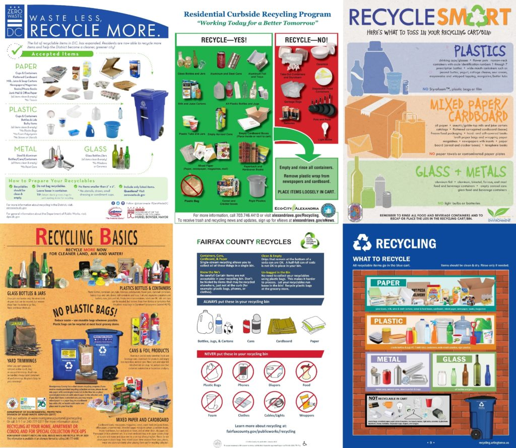 Recycling brochures from the Washington region.