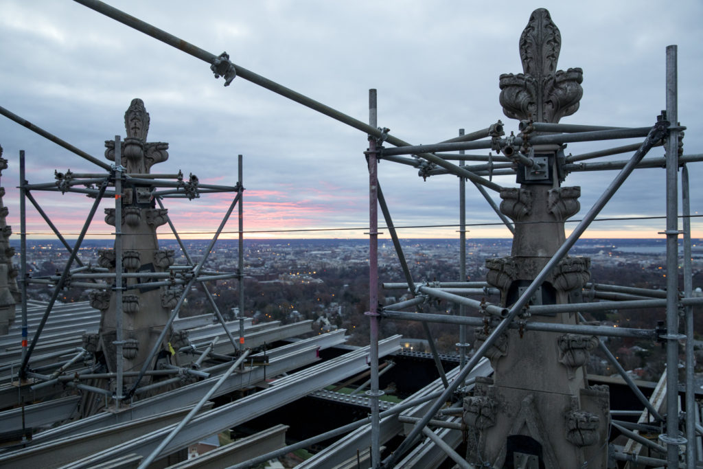 Scaffolding on top of the National Cathedral