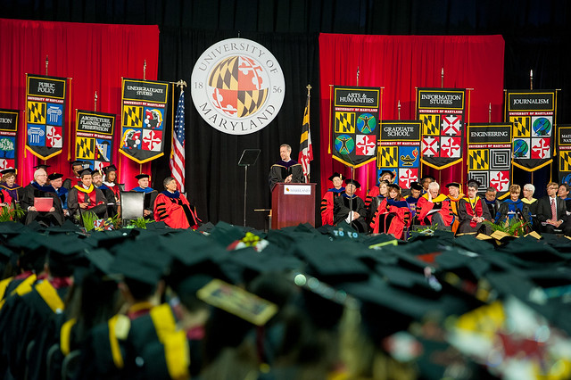 Former Maryland Governor Martin O'Malley delivers the commencement address at the University of Maryland graduation ceremony in May 2014.