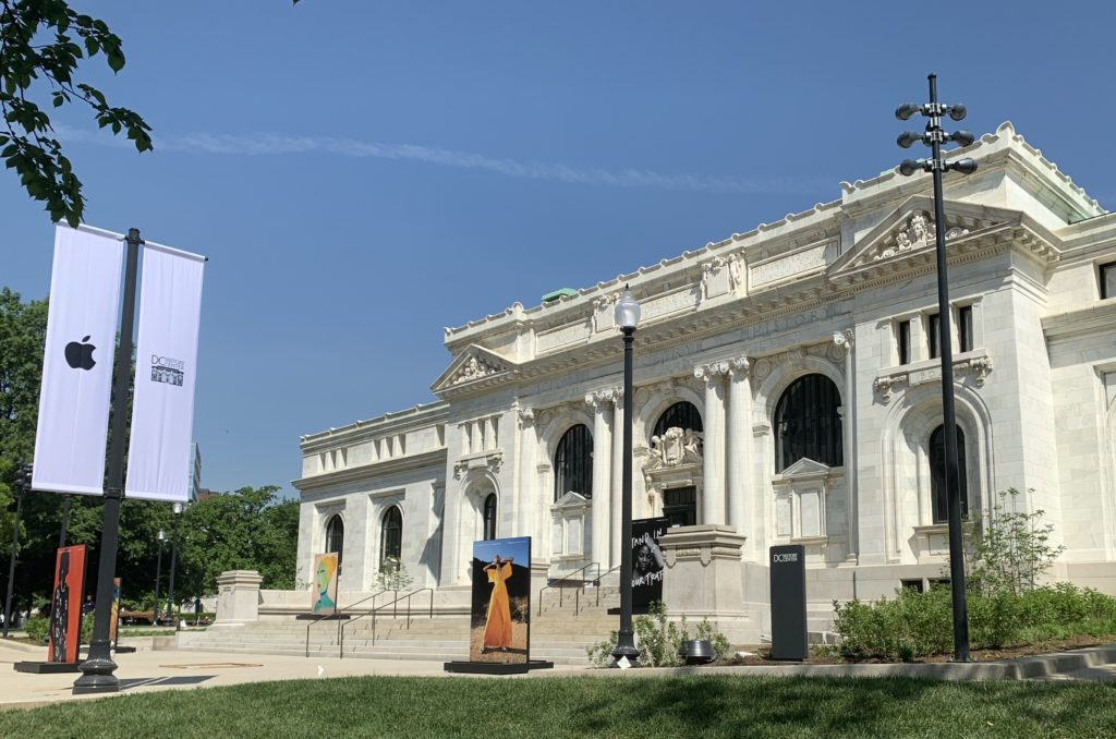 Exterior shot of the restored Carnegie Library, home of the D.C. History Center and a new flagship Apple store.