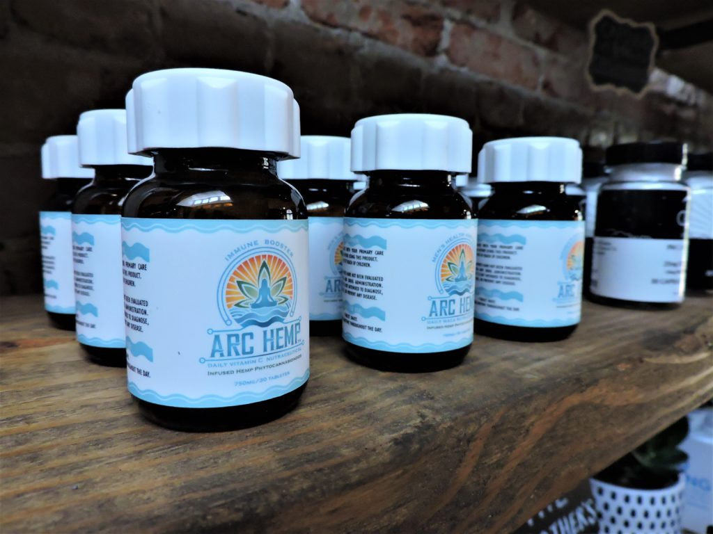 <i>CBD products on display at District Hemp Botanicals in Washington, D.C. Photo by Maura Currie/WAMU</i>