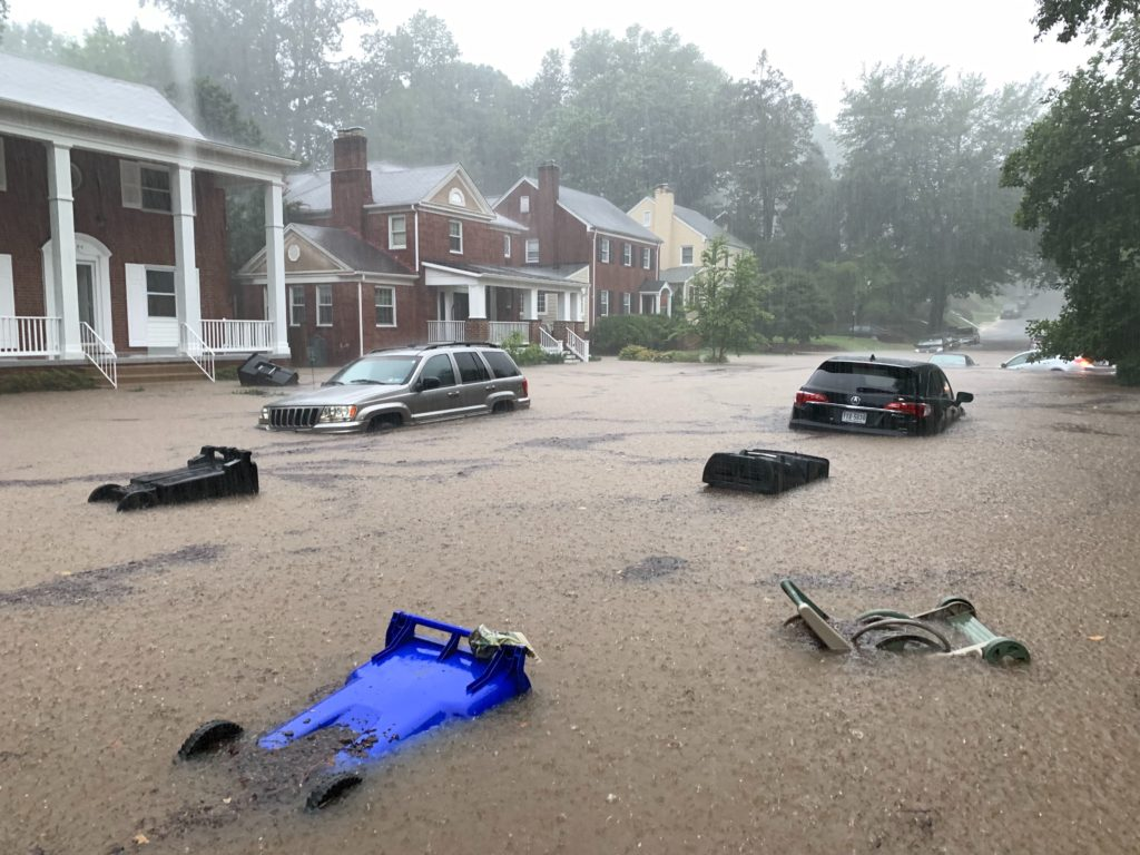 Flash flooding in Arlington, Virginia on July 8, 2019.