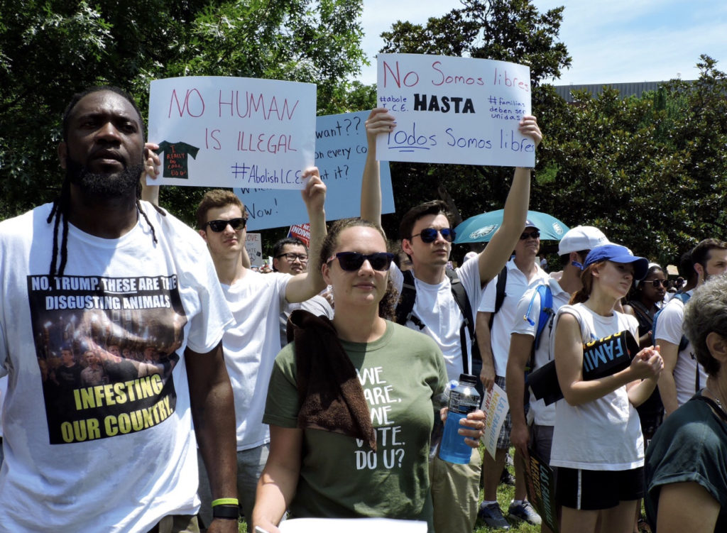 Protesters gathered at the Families Belong Together March in front of the White House on June 30, 2018