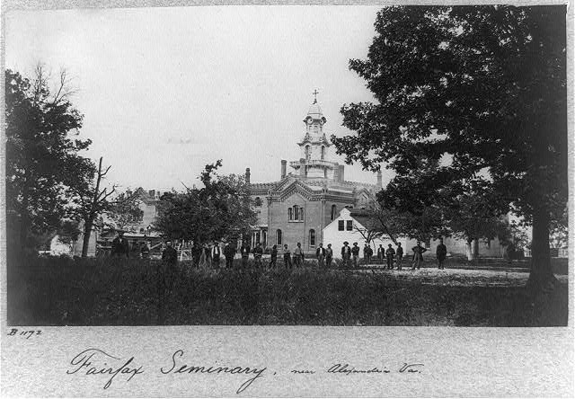 """Civil War Era image of Virginia Theological Seminary featuring both Union soldiers and Black civilians.  <a href=""""https://www.loc.gov/resource/cph.3b45389/""""><i>Image via the Library of Congress Prints &amp; Photographs Division</i></a>"""
