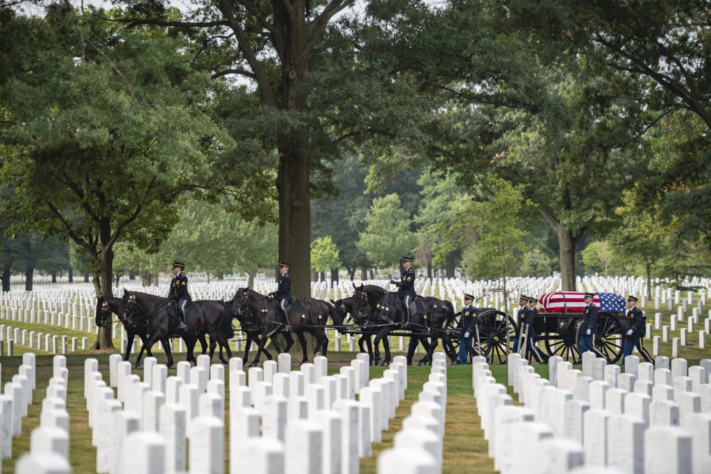 The 3d U.S. Infantry Regiment (The Old Guard) Caisson Platoon helps conduct Military Funeral Honors with Funeral Escort for U.S. Army Master Sgt. Carl Lindquist in Section 55 of Arlington National Cemetery