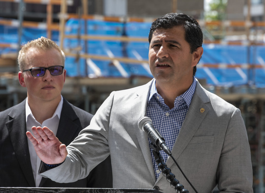 Montgomery County Councilmember Gabe Albornoz (D-At Large) speaking at a Housing Initiative Fund event in July 2019.