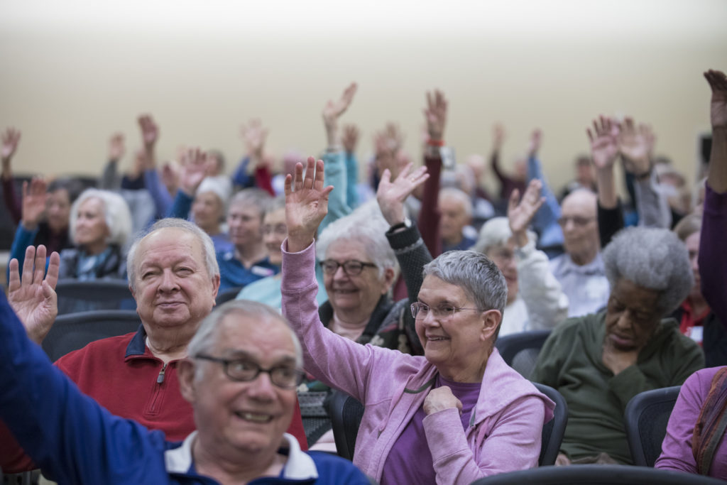 """Raise your hand if you think Trump should be removed from office.""  Seniors at Goodwin House, a Virginia retirement community, respond to Kojo with hands resolutely in the air."