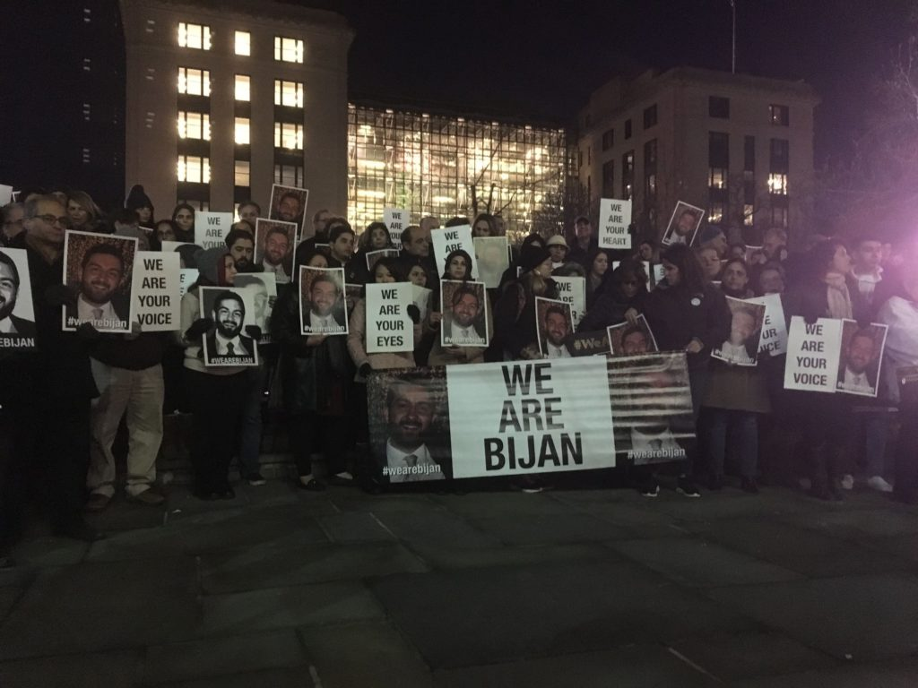 Bijan Ghaisar's family and friends gather at a protest last February. Ghaisar was killed when park police fired nine gun shots into his Jeep Grand Cherokee.
