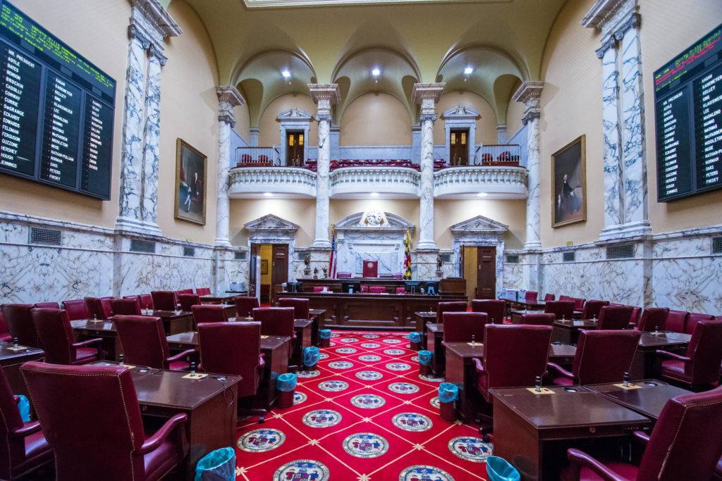 Legislative sessions in Maryland and Virginia begin January 8. Pictured above: the Maryland State Senate chamber.