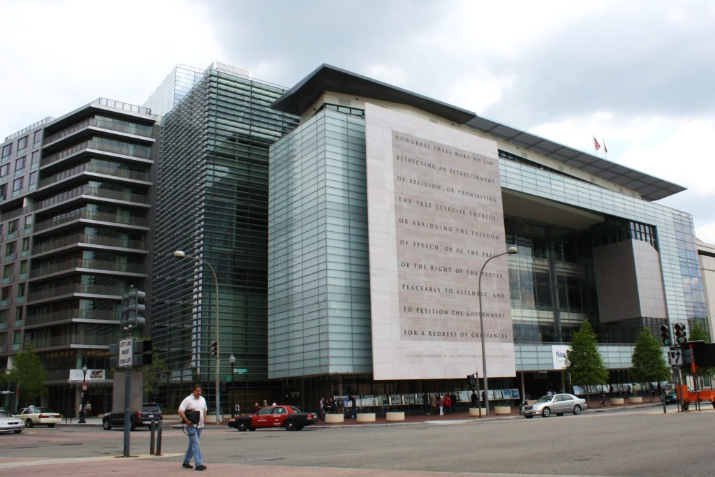 Facade of the Newseum, which is slated to close after December 31, 2019
