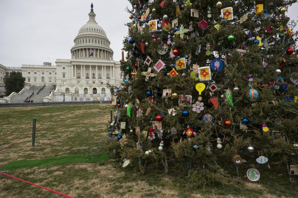 The Capitol Christmas Tree, a blue spruce from the Carson National Forest in New Mexico, is decorated with thousands of ornaments handcrafted by New Mexico communities, and stands on the West Front of the U.S. Capitol, Friday, Dec. 6, 2019, in Washington.