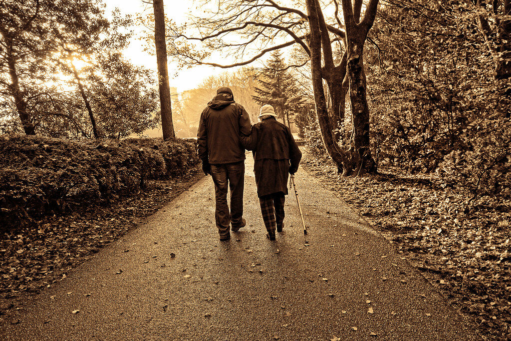 Elderly couple walking in a park.