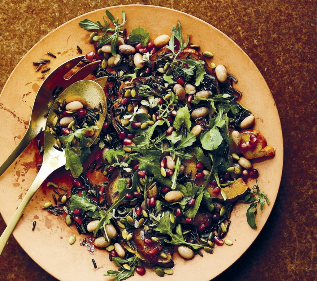 """Winter Salad with Cranberry Beans, Squash and Pomegranate, from Joe Yonan's """"Cool Beans,"""" (Ten Speed Press, 2020)"""