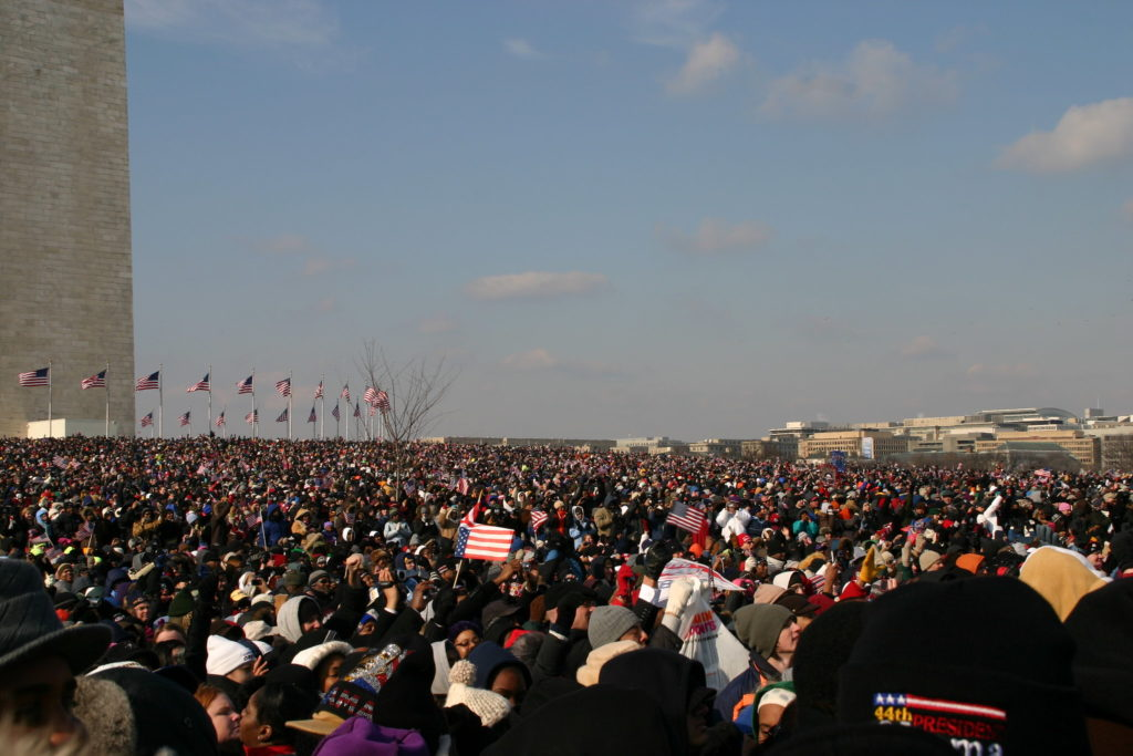 Crowds gather at the National Mall in 2009.