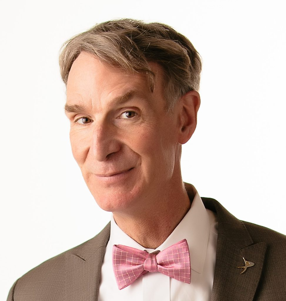 Bill Nye in a pink tie.