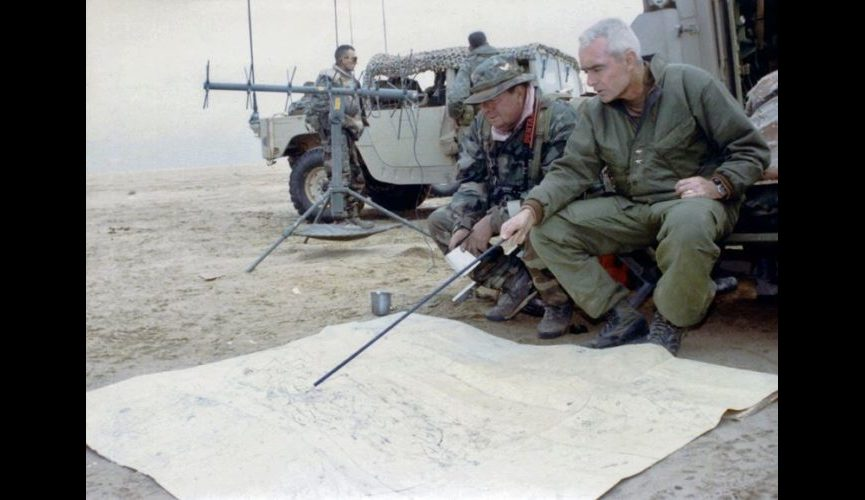 Joe Galloway & Barry McCaffrey during Desert Storm