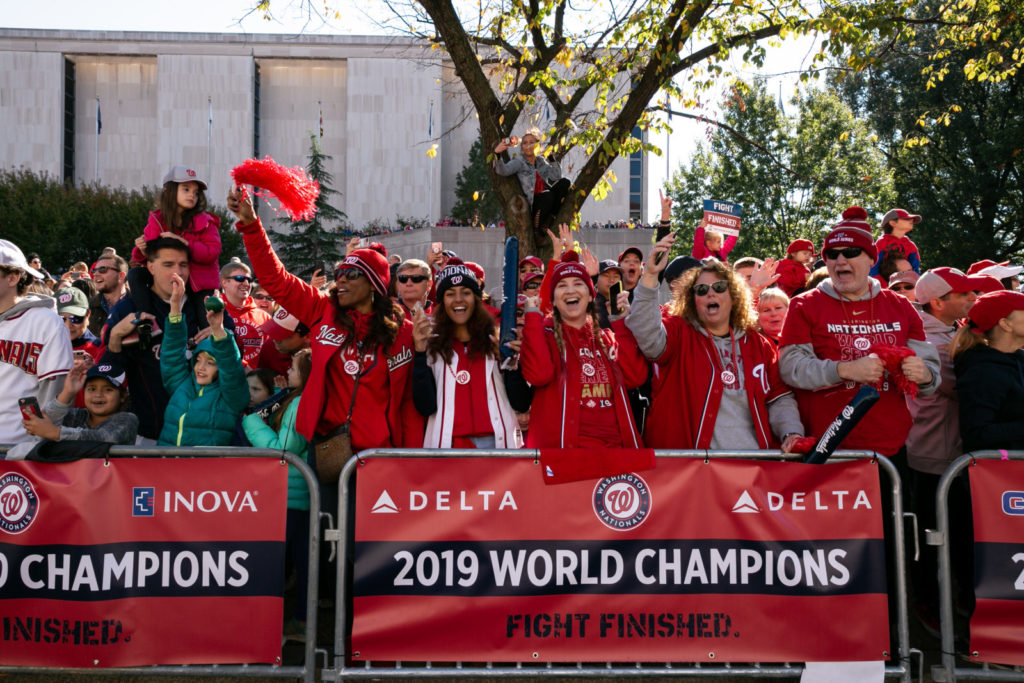 Crowds of thousands showed their support during the Nationals World  Championship Parade on November 2, 2019 in Washington, D.C.
