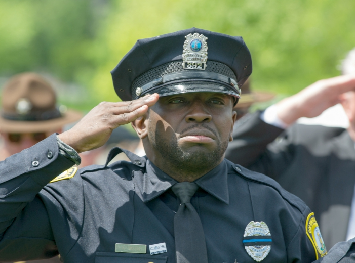 A South Carolina officer salutes on May 15, 2016 at the 35th National Peace Officers' Memorial Service in Washington D.C.