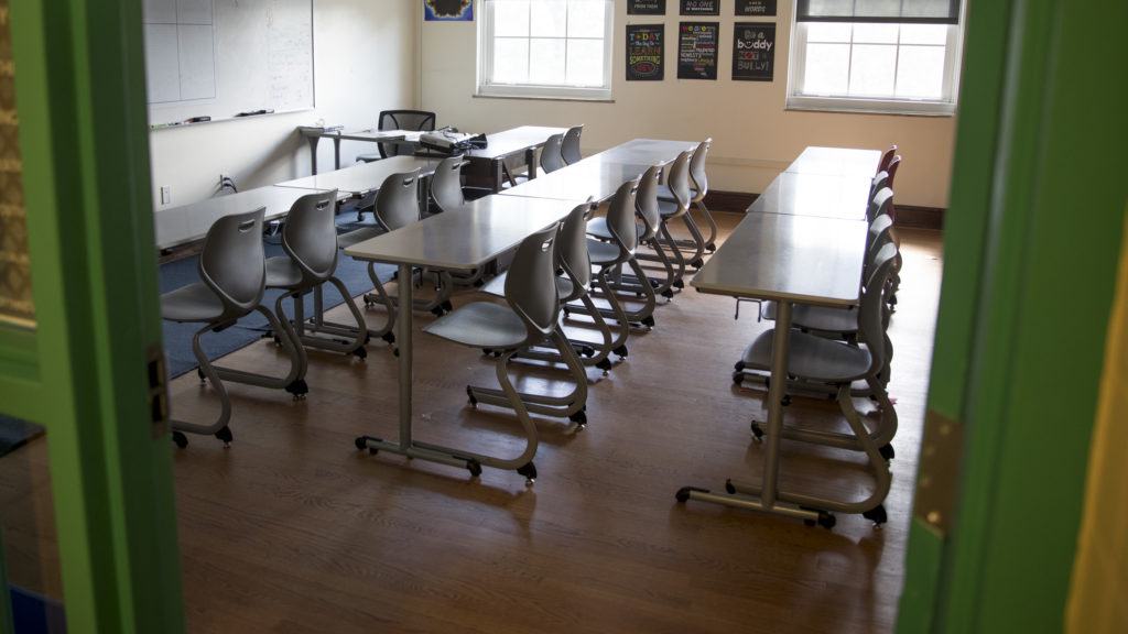 An empty classroom in a D.C. school.