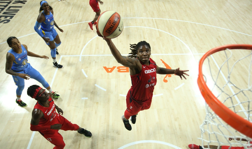 PALMETTO, FL - AUGUST 1: Myisha Hines-Allen #2 of the Washington Mystics reaches for the ball during the game against the Chicago Sky on August 1, 2020 at Feld Entertainment Center in Palmetto, Florida.
