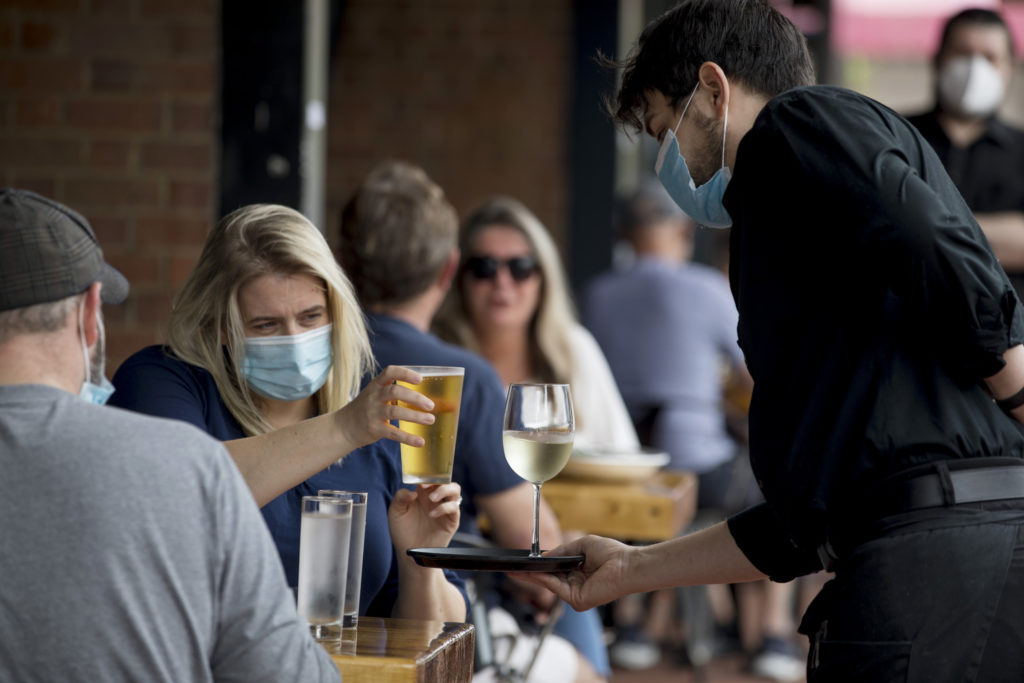 The Fahrenheit Steakhouse in Fredericksburg, as customers and restaurant workers navigate dining out six months into the pandemic.