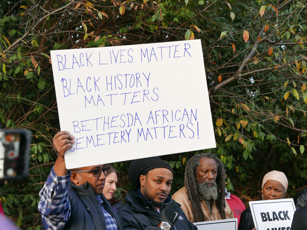 Protests erupt at the destruction of Moses African Cemetery in Bethesda, MD.