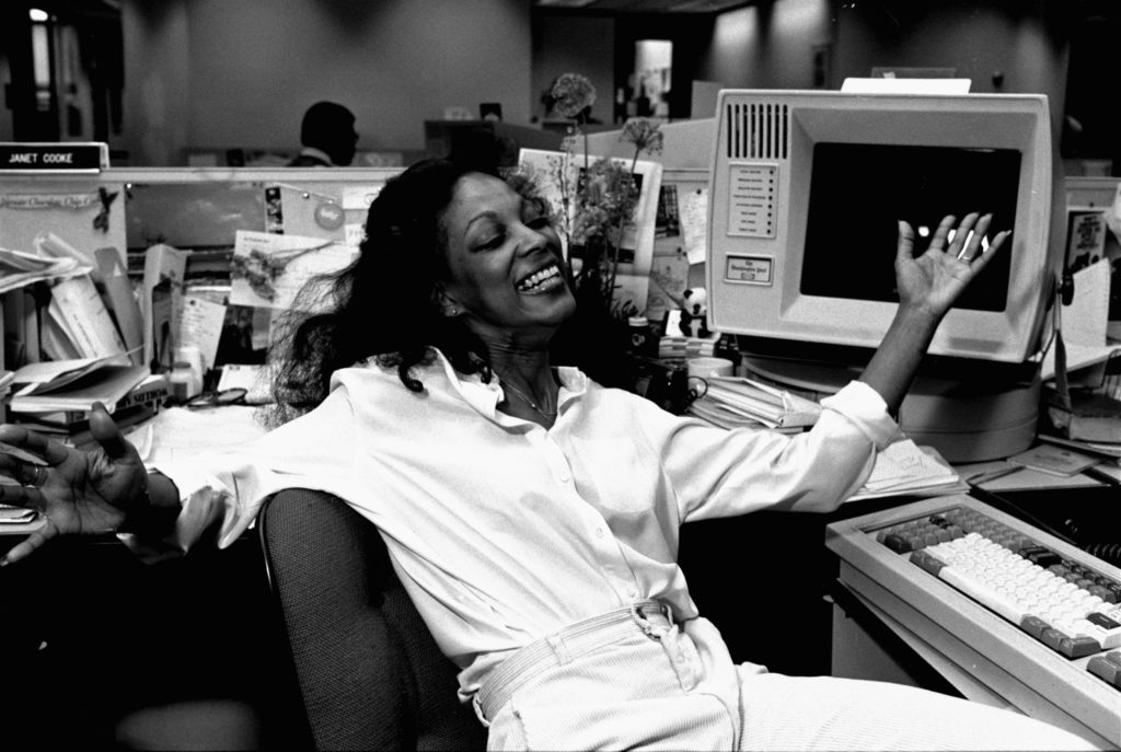 Janet Cooke, of  The Washington Post, throws up her arms after winning the Pulitzer for feature writing, April 12, 1981.
