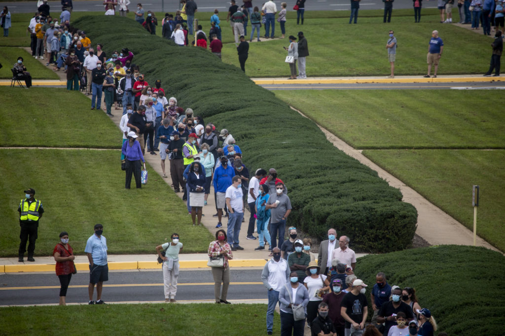 Long lines of voters at the Fairfax County Government Center on the first day of early voting in Virginia.