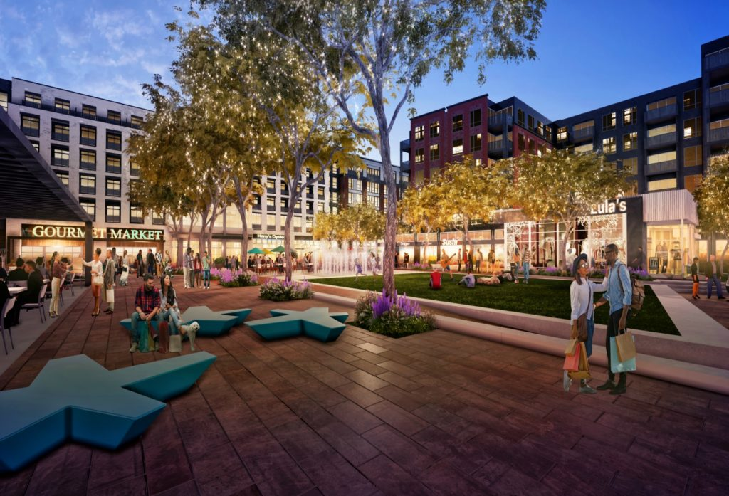 A rendering of Town Center Plaza at dusk at The Parks at Walter Reed, the redevelopment of 66 acres of the former Army installation off Georgia Avenue in the District.