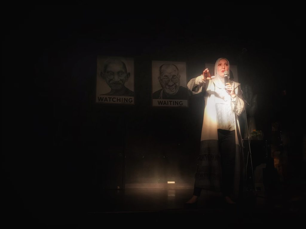Comedian Yasmin Elhady performs a set at Bus Boys & Poets - May 17, 2019.