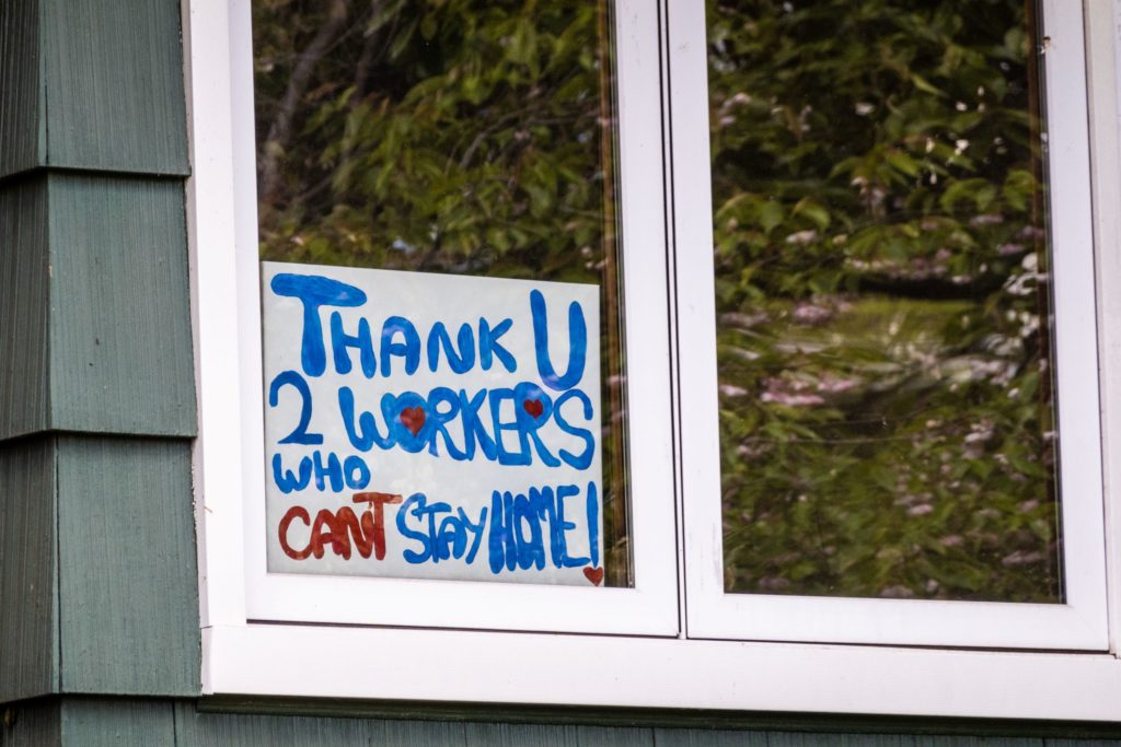 """A """"thank you"""" sign for essential workers in Arlington, Virginia."""