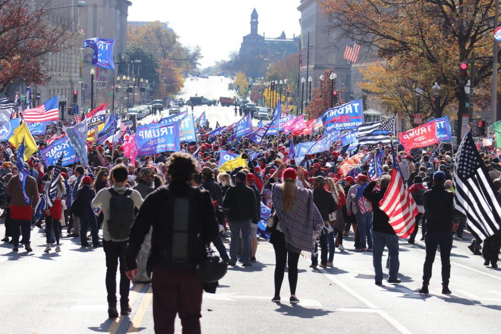 Trump supporters gathered for the Million MAGA March at Freedom Plaza in D.C. on November 14, 2020.
