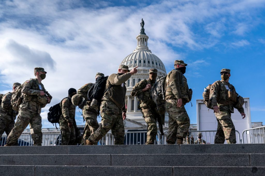 National Guard troops reinforce security around the U.S. Capitol ahead of President Biden's inauguration.
