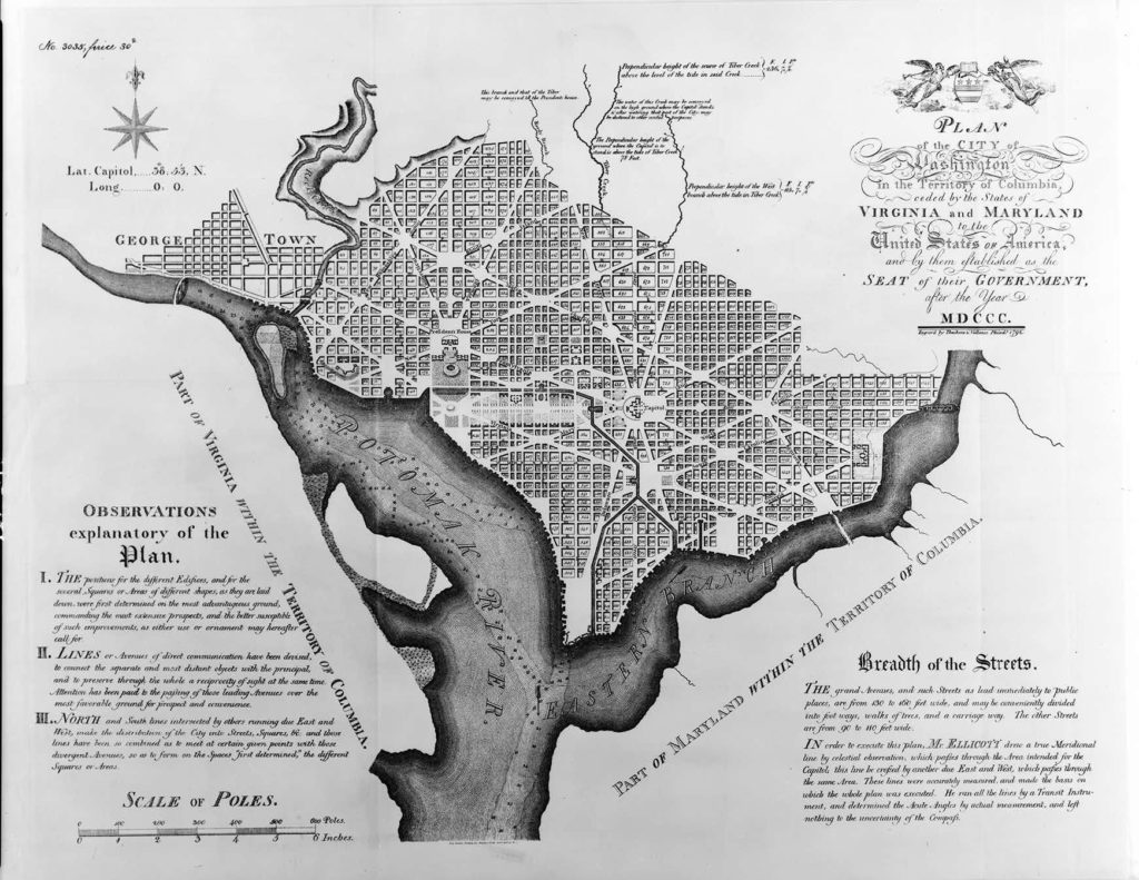 Historian Robert Watson's most recent book is about President Washington's efforts to develop our nation's capital. This is Andrew Ellicott's 1792 plan for D.C.—most of which is still very recognizable to locals today.