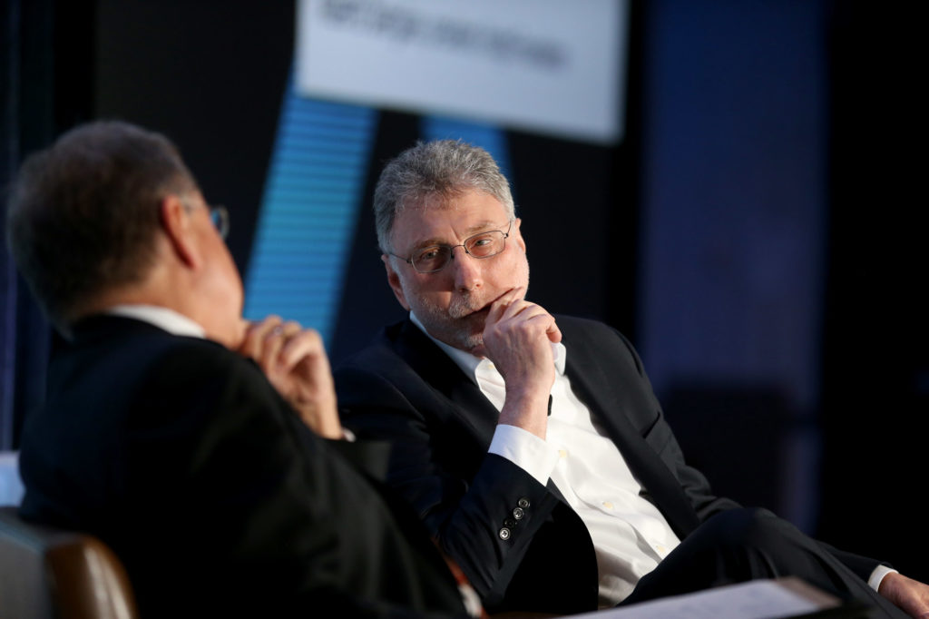 Washington Post executive editor Marty Baron (right) talks with Alberto Ibarguen, President of The Knight Foundation, during the Knight Foundation's Media Learning Seminar 2017 in Miami, Florida.