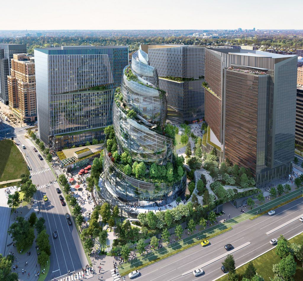 An aerial view of Amazon's double helix building, part of design plans for the company's HQ2 in Arlington.
