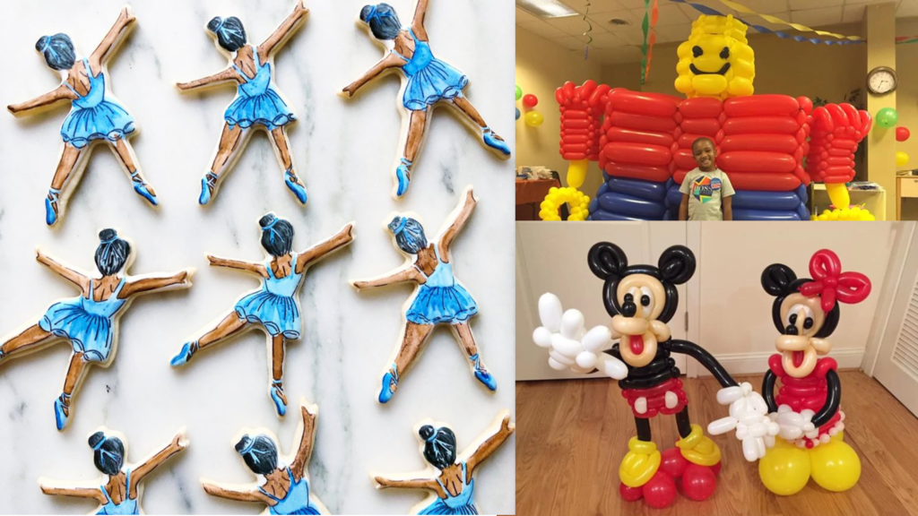 Meghan Cassidy of Meghan Bakes creates intricate cookies, like these ballet dancers (left). Julie Zauzmer is a balloon twister who crafts custom sculptures, centerpieces and other latex creations.