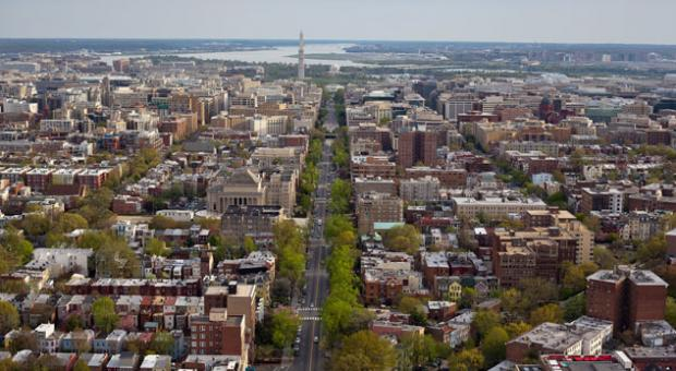 An aerial view over Meridian Hill Park, Washington, D.C.