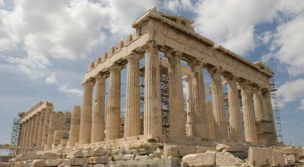 "The Parthenon's facade in Athens, Greece, exemplifies the ""golden ratio"" principle in architecture. It occurs when a square is subtracted from a golden rectangle to reveal another golden rectangle, continuing ad infinitum."
