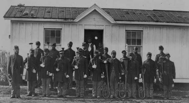 Arlington, Va. Band of 107th U.S. Colored Infantry at Fort Corcoran, November 1865.