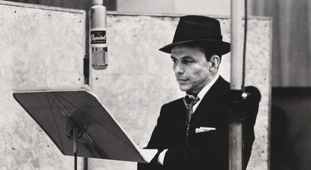 "Frank Sinatra is captured in this portrait in the National Portrait Gallery exhibit ""American Cool."""